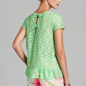 Lilly Pulitzer Darla Lace Blouse Green S